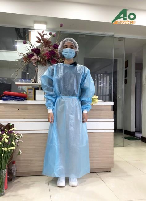 Áo choàng y tế vải không dệt cán màn PE bo tay thun
