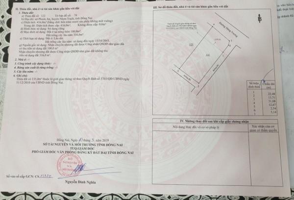 Bán đất nền xã Phước An Đường Hùng Vương 416 m2 - Thuận Lộc