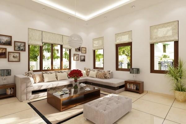 Bạn nên bài trí đồ nội thất có hình tròn, đường cong ở phòng khách