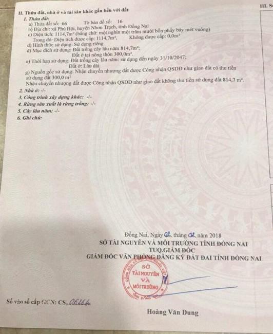 Bán Nhanh Nền Đất Xã Phú Hội Nhơn Trạch 1114,7m2