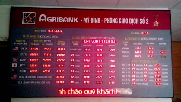 Bảng led tỷ giá ngân hàng