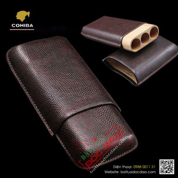 Bao da đựng thuốc xì gà Cohiba 5200A cao cấp, phụ kiện xì gà