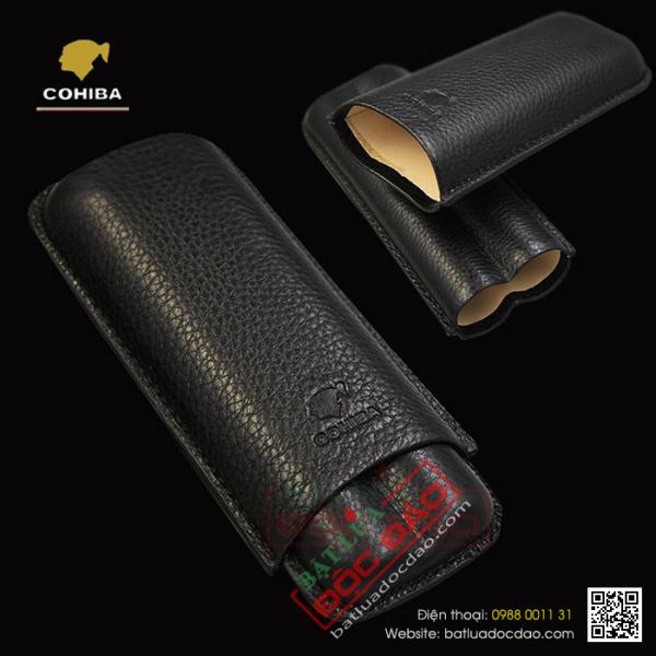 Bao da đựng xì gà Cohiba 2 điếu 1202A chính hãng, cao cấp