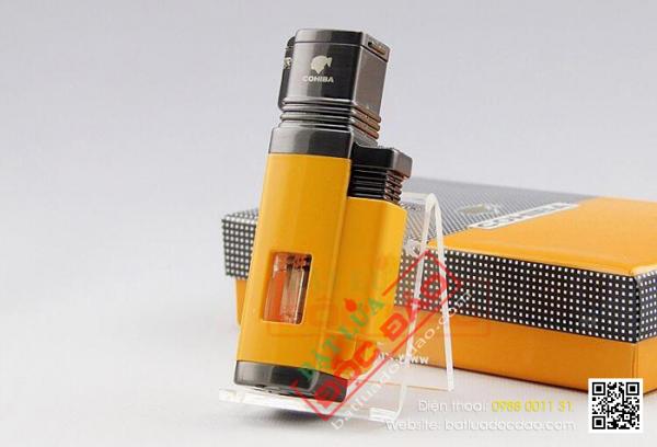 Bật lửa khò xì gà 2 tia cao cấp h079, phụ kiện cigar