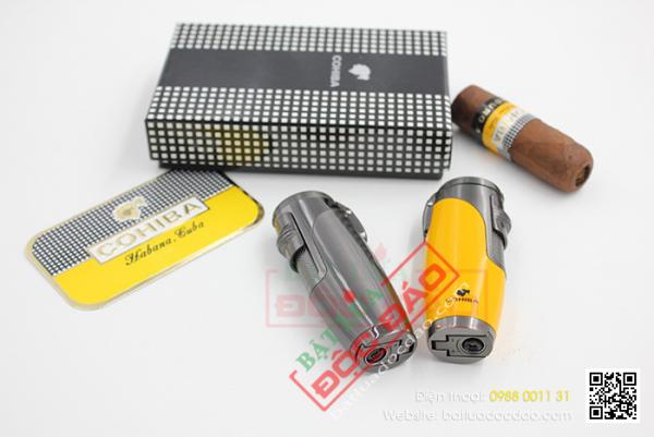 Bật lửa khò xì gà 3 tia cao cấp h074, phụ kiện cigar