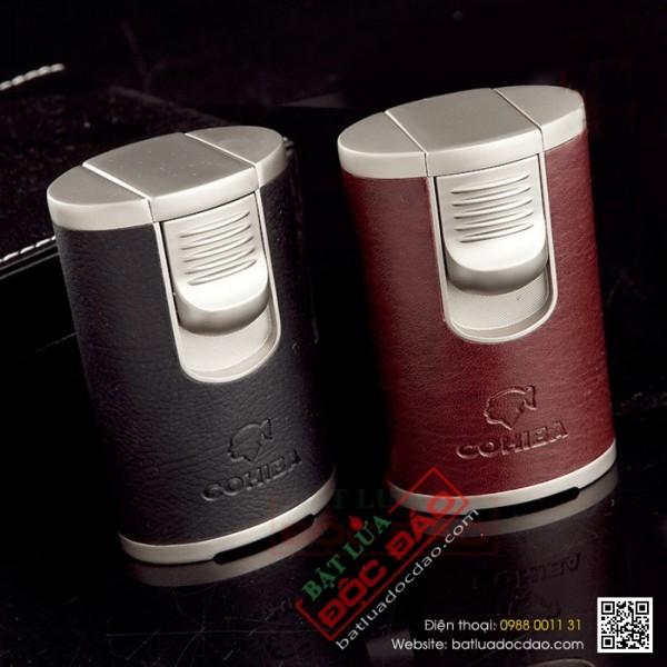 Bật lửa xì gà, hộp quẹt xì gà hcm 4 tia Cohiba cao cấp COB003