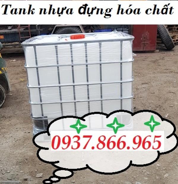 Bồn IBC, tank nhựa, tank nhựa 1 khối đựng hóa chất, tank 1000l màu trắng