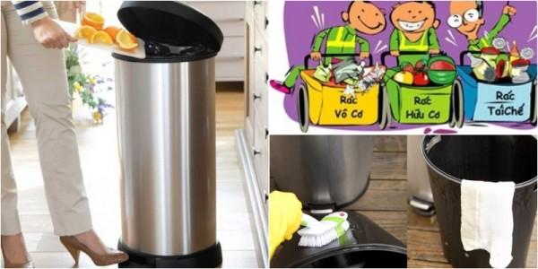 Cách dùng giấm và bánh mỳ tẩy mùi hôi thùng rác