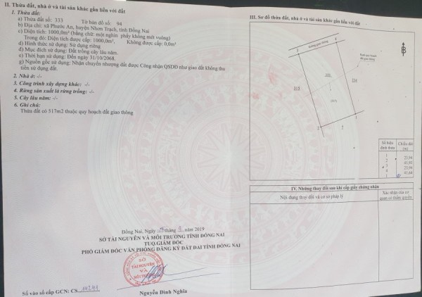 Cần Bán Đất Nhơn Trạch Chính Chủ 1000 m2 - 3. 600. 000/ m2