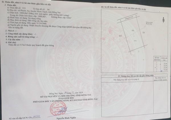 Cần Bán Đất Nhơn Trạch Chính Chủ 1000 m2 Giá Đầu Tư