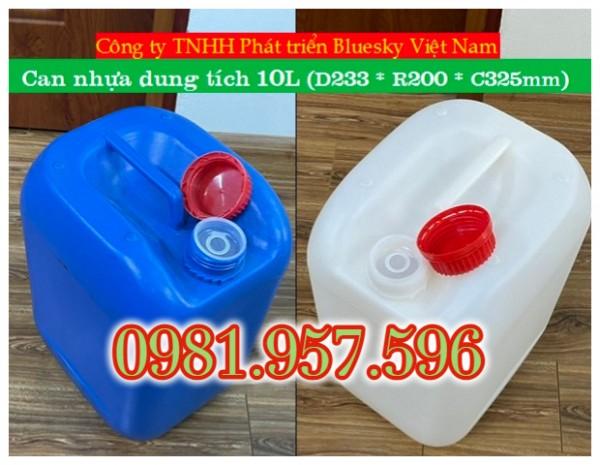 Can đựng hóa chất 10L, can nhựa HDPE dung tích 10L