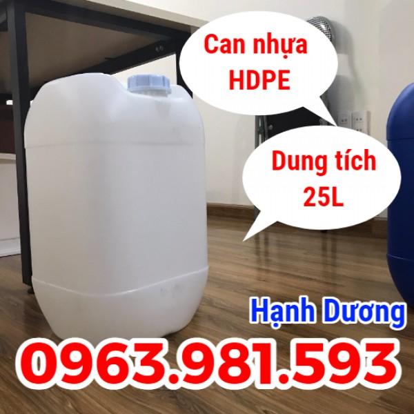 Can HDPE 25L, can nhựa hóa chất, can loại dày