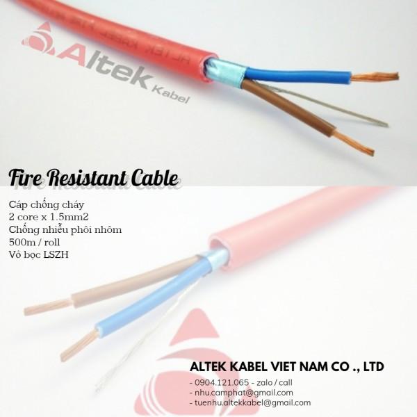Cáp chống cháy (CC2x1.5) 2 core x 1.5mm / 1pair 16awg chống nhiễu phôi nhôm