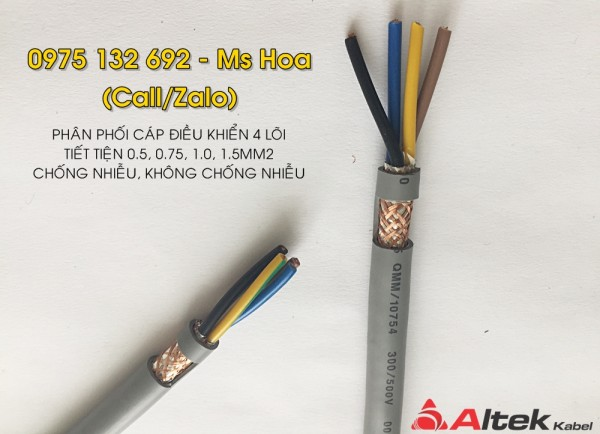 Cáp điều khiển 4x1.0, cáp tín hiệu 4x1.0 Altek Kabel