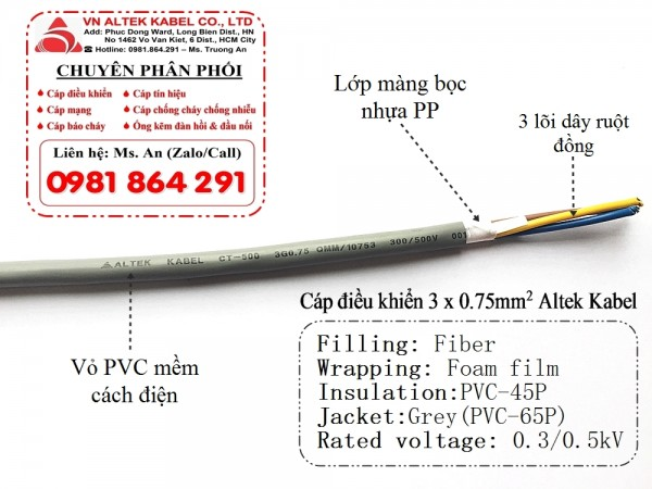 Cáp điều khiển lõi đồng mềm 3 lõi 3x0.5, 3x0.75, 3x1.0, 3x1.5 Altek Kabel