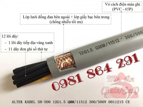 Cáp tín hiệu, cáp điều khiển 12 lõi: 12x0.5,12x0.75,12x1.0, 12x1.5mm2