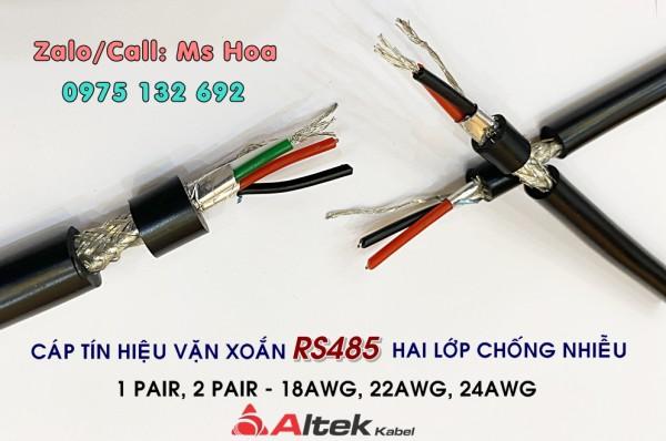 Cáp tín hiệu RS485 2 pair 24AWG chống nhiễu hai lớp