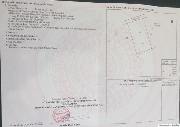 Đất Nền ở Nhơn Trạch Chính Chủ 1000 m2 3.600.000/m2