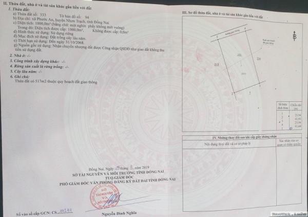 Đất nền tại Nhơn Trạch 1000 m2 Có sổ riêng - 0941.319.399