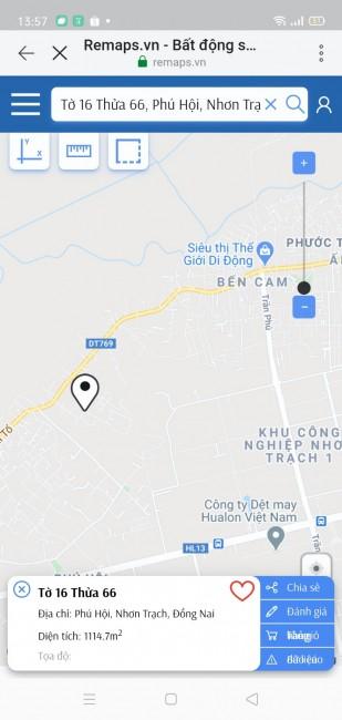 Đất Nền Xã Phú Hội Nhơn Trạch Diện Tích 1114,7m2