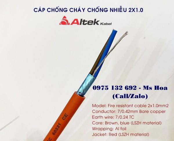 Dây cáp chống cháy 2x1.0, Fire Resistant Cable 2x1.0+E 0.6/1KV IEC 60331