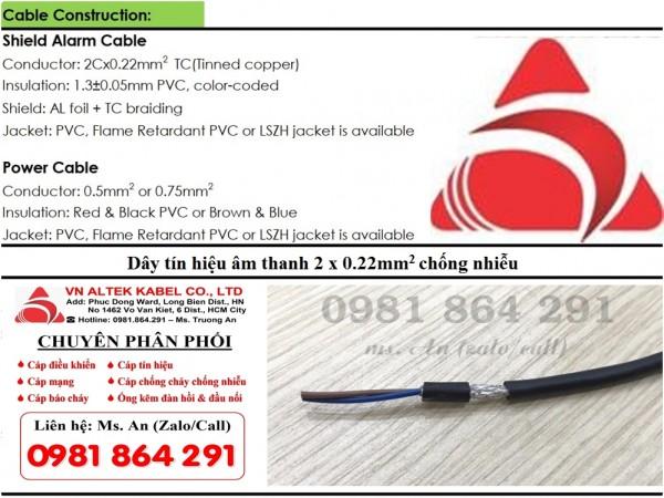 Dây tín hiệu âm thanh 2 x 0.22mm2 chống nhiễu hàng nhập khẩu