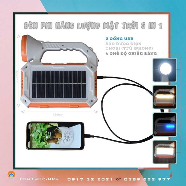 Đèn đa năng dùng năng lượng mặt trời tích hợp sạc điện thoại 5in1