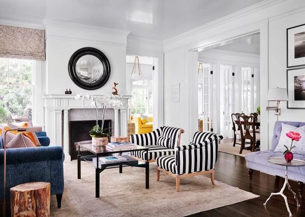 Điểm nhấn dễ thương của phòng khách từ những chiếc ghế bọc da in họa tiết