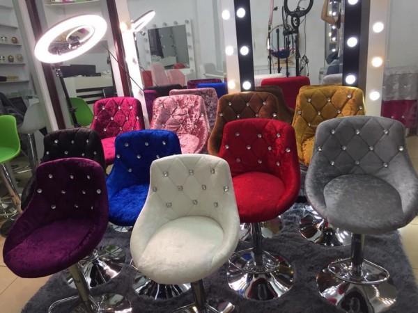 Ghế bar nhung đính đá - Ghế livestream, ghế make-up, ghế liveshow