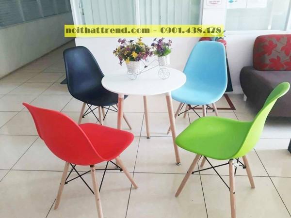 Ghế nhựa chân gỗ GLM09 - Ghế nhựa cafe, ghế ăn, ghế trang điểm giá rẻ