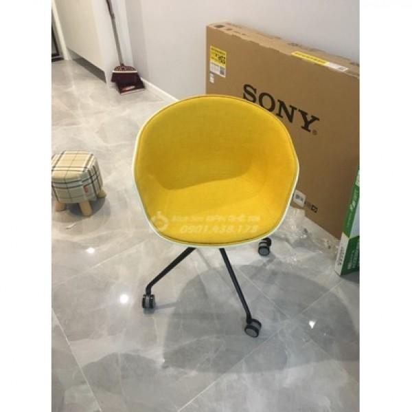 Ghế Nhựa PP Bọc Vải Bố GLM47A - Ghế nệm có bánh xe, Ghế đọc sách thư giãn xoay 360 độ