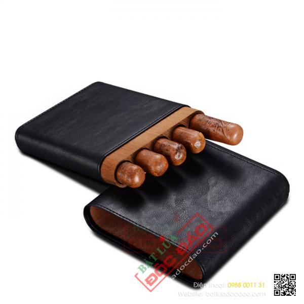 Hộp gỗ bọc da đựng xì gà Cohiba 5 điếu H561B cao cấp (quà biếu sếp)