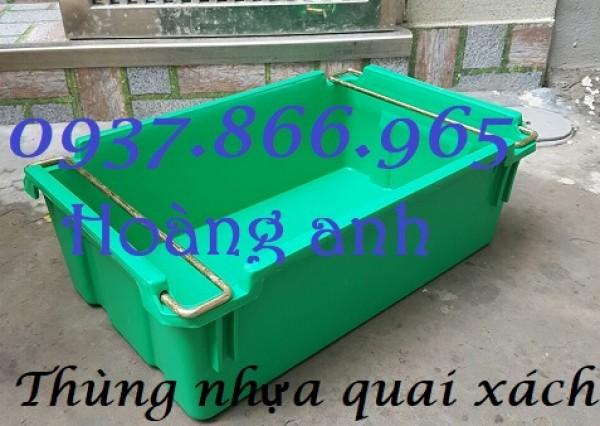Hộp nhựa có quai sắt, thùng nhựa xếp chồng , khay nhựa đựng đồ cơ khí, khay A2