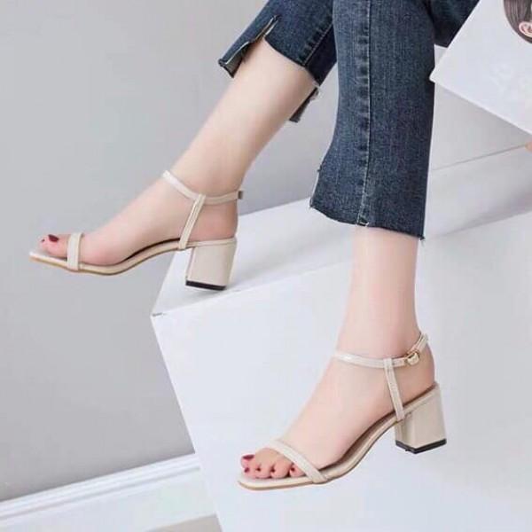 [HOT NEW] Giày cao gót 5 phân quai ngang đế vuống, có sẵn 2 màu