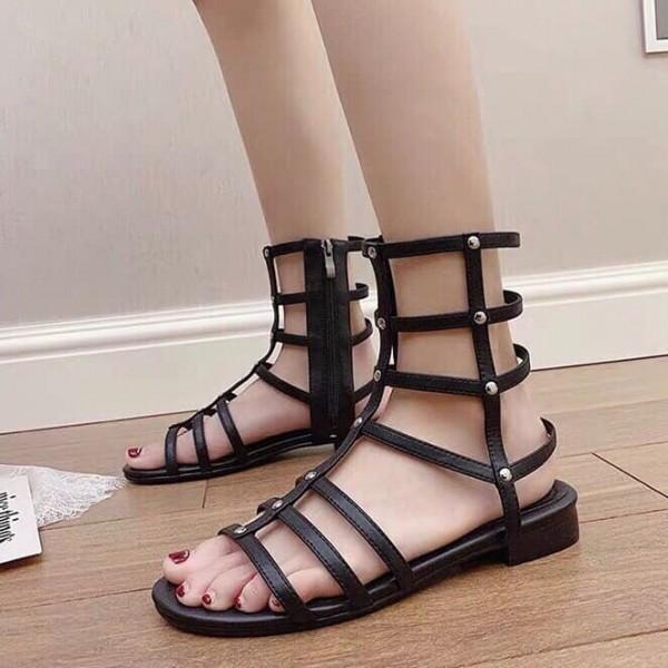[HOT NEW] Sandal cao cổ chiến binh đế cao su có zipper thời trang