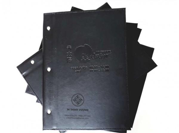 In menu bìa da sang trọng, mẫu mã đẹp
