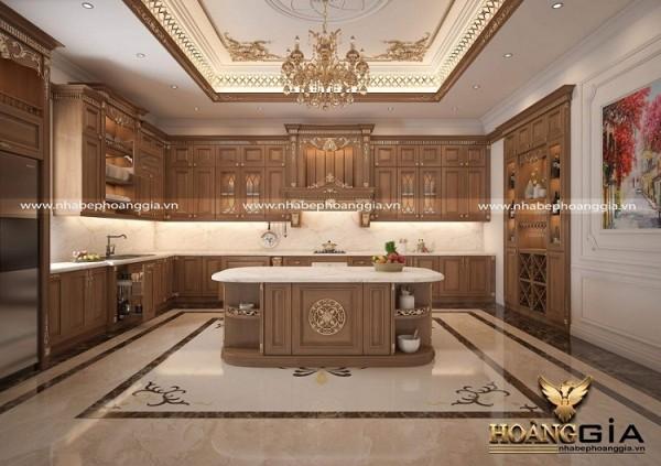 Mẫu tủ bếp gỗ gõ đỏ cao cấp có quầy bar sang trọng
