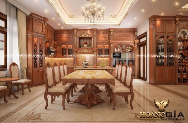 Mẫu tủ bếp gỗ gõ đỏ phong cách tân cổ điển cao cấp
