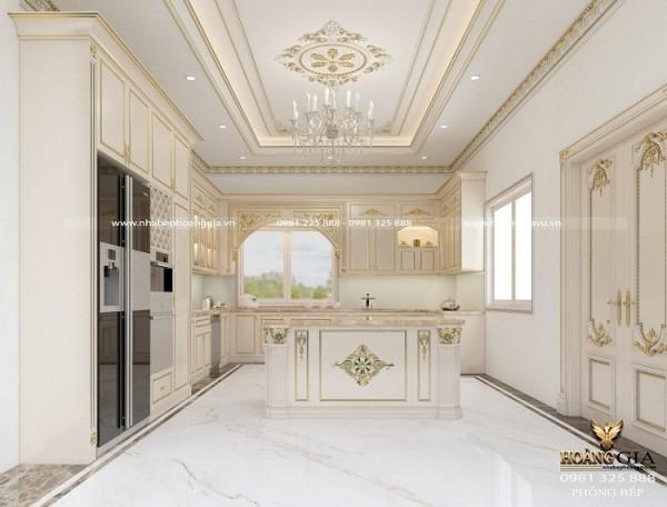 Mẫu tủ bếp tân cổ điển sơn trắng quý phái cho nhà biệt thự