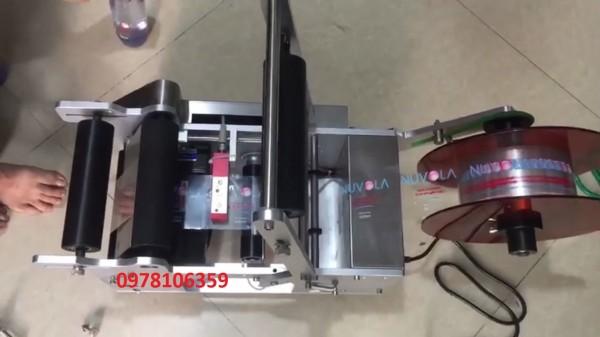 Máy dán nhãn decal chai tròn, máy dán nhãn hủ nhựa, máy dán nhãn chai pet MT50