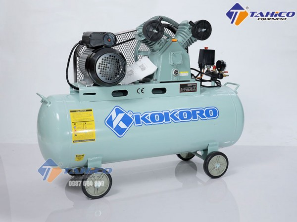 Máy nén khí dây đai 3hp Kokoro vận hành motor 100%
