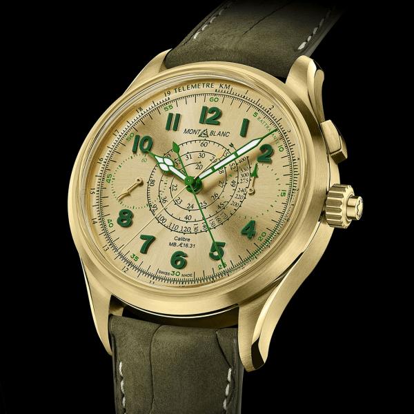 Montblanc 1858 split-second với mặt số vàng chanh
