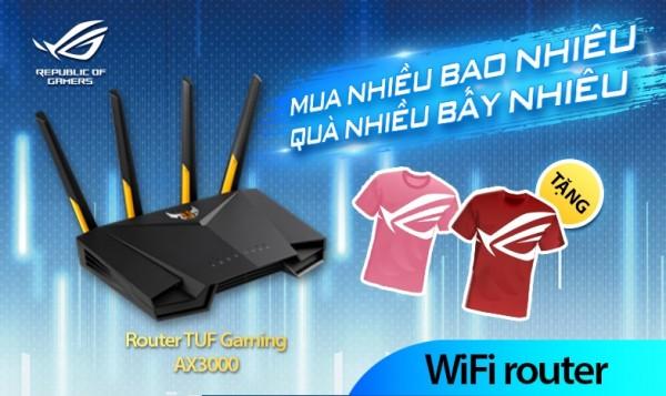 Nhận ngay áo thun ROG khi mua bộ định tuyến Wi-Fi Asus Tuf Gaming AX3000