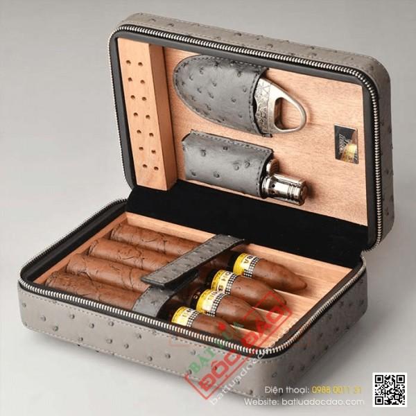 Phụ kiện xì gà Hà Nội: set 3 món bật lửa, dao cắt, hôp giữ ẩm