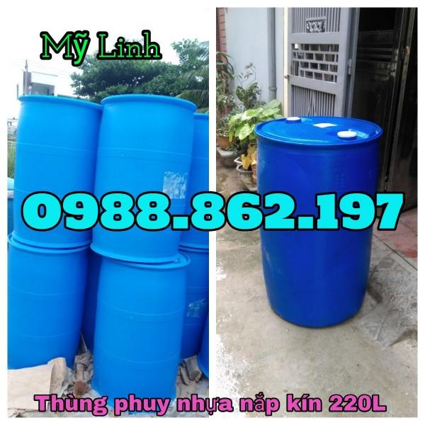 Phuy nhựa nắp kín 220L, phuy nhựa công nghiệp 220L