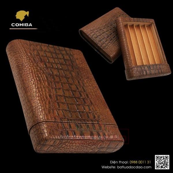 Quà tặng sếp cao cấp, bao da cigar Cohiba 5 điếu h511b chính hãng