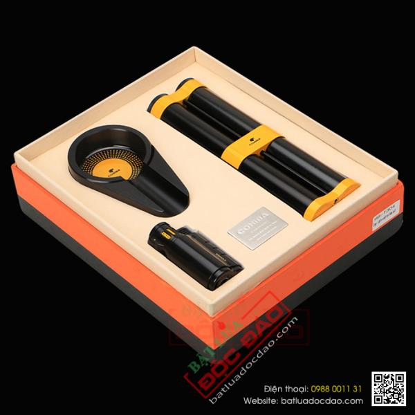 Sét phụ kiện cigar Cohiba T304: gạt tàn, ống đựng, bật lửa