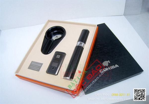 Sét phụ kiện cigar Cohiba T307: gạt tàn, ống đựng, bật lửa