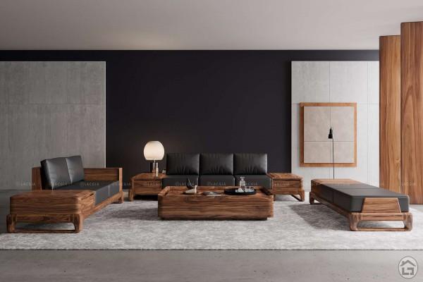 Sofa gỗ óc chó SF28 - Nội Thất Lạc Gia