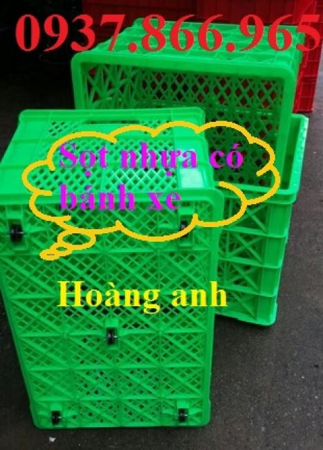 Sọt nhựa có bánh xe, sọt nhựa dùng trong ngành công nghiệp nhẹ, giá sọt nhựa